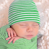 Green and White Striped Newborn Hospital Hat