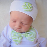 Green & White Seersucker Bow Tie NEWBORN BODYSUIT and Initial Covered Button- Newborn Boy Welcome Home Outfit