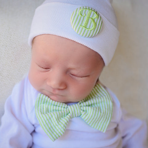 Green & White Seersucker Bow Tie Onsie and Initial Covered Button- Newborn Boy Welcome Home Outfit