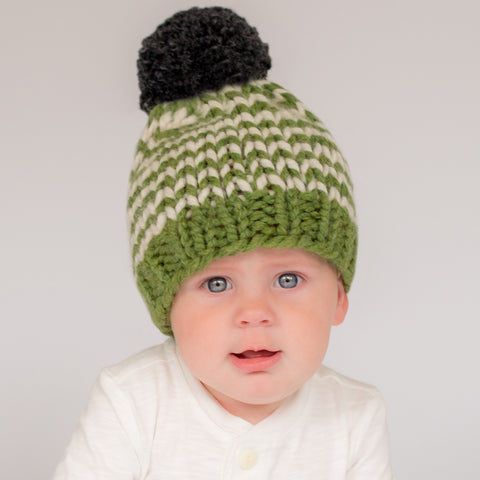 Green and White Striped Knit Beanie with Dark Green Pom Pom Baby Hat