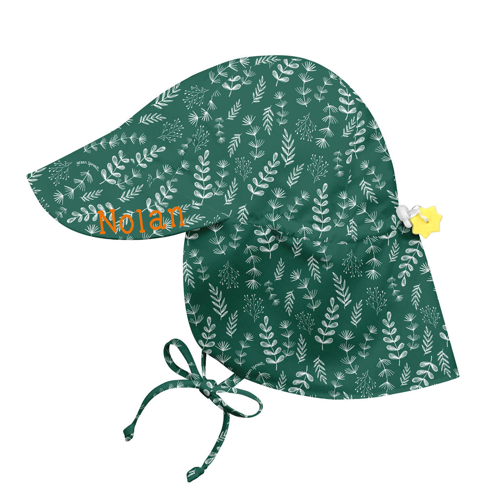 Forest Green White Fern Print Flap Sun Protection Baby and Toddler Sun Hat with Sun Protection - Personalization Option
