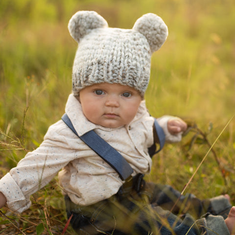 Soft Grey and White Striped Double Pom Pom KNIT Beanie for Baby Boys  32ae85d1b86
