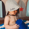 Grey Flap Sun Protection Baby and Toddler Sun Hat with Sun Protection - Personalization Option