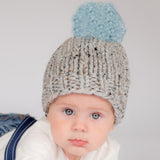 Chunky Grey Handmade Knit Beanie with Light Blue Pom Pom Baby Boy Hat