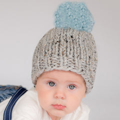 Chunky Grey Handmade Knit Beanie with Light Blue Pom Pom Baby Boy Hat icon