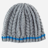 Grey Cable Knit Beanie with Royal Blue Stripe - Boys 4-6 Years