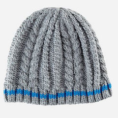 Grey Cable Knit Beanie with Royal Blue Stripe - Boys 4-6 Years icon