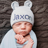 Grey and White Striped Personalized Baby Bear Newborn Boy Hospital Hat