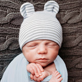Grey and White Striped Baby Bear Newborn Boy Hospital Hat