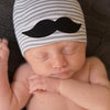 Grey and White Striped Lil' Man Mustache Newborn Boy Hospital Hat