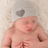 Grey and White Striped Newborn Boy Hospital Hat with Grey Crocheted Heart