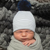 Grey and White Striped Newborn Boy Hospital Hat with NAVY BLUE Pom Pom