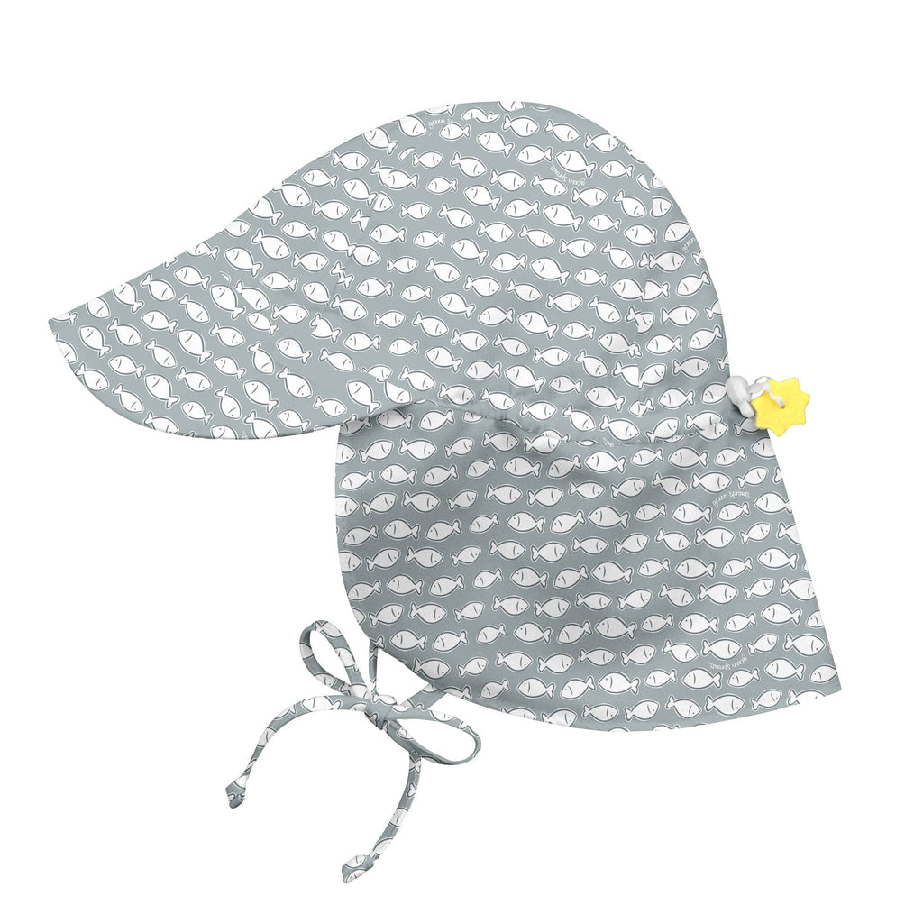 Grey Hat with White Fishes Flap Sun Protection Baby and Toddler Sun Hat with Sun Protection - Personalization Option