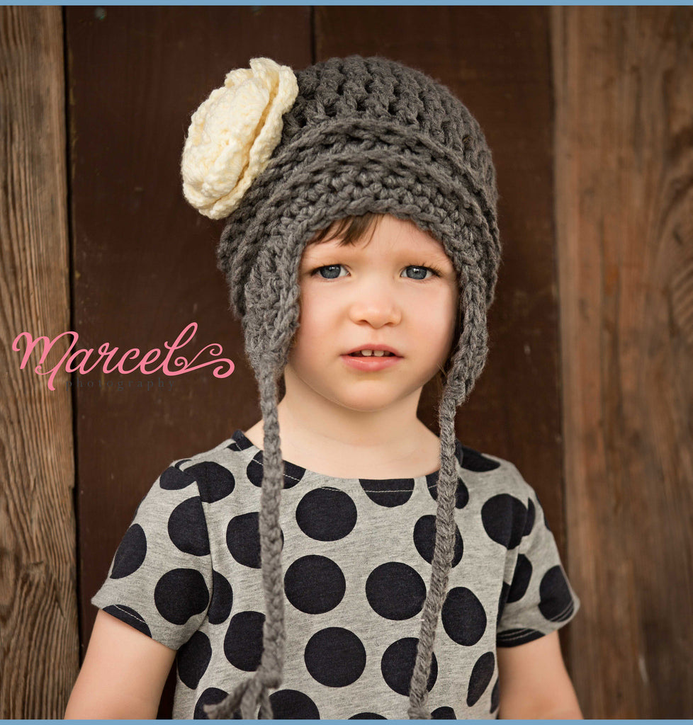 Charcoal Grey and Cream Pretty Aviator Flower Earflap Beanie for Baby and Toddler Girls