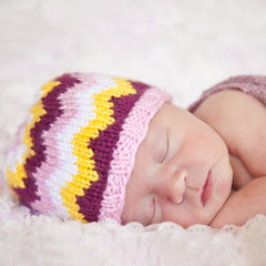 Happy Girly Chevron Stripes Baby Girl Beanie icon