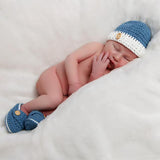 Bleu Baby Beanie with Wooden Button and Matching Blue Booties for Newborn Boys