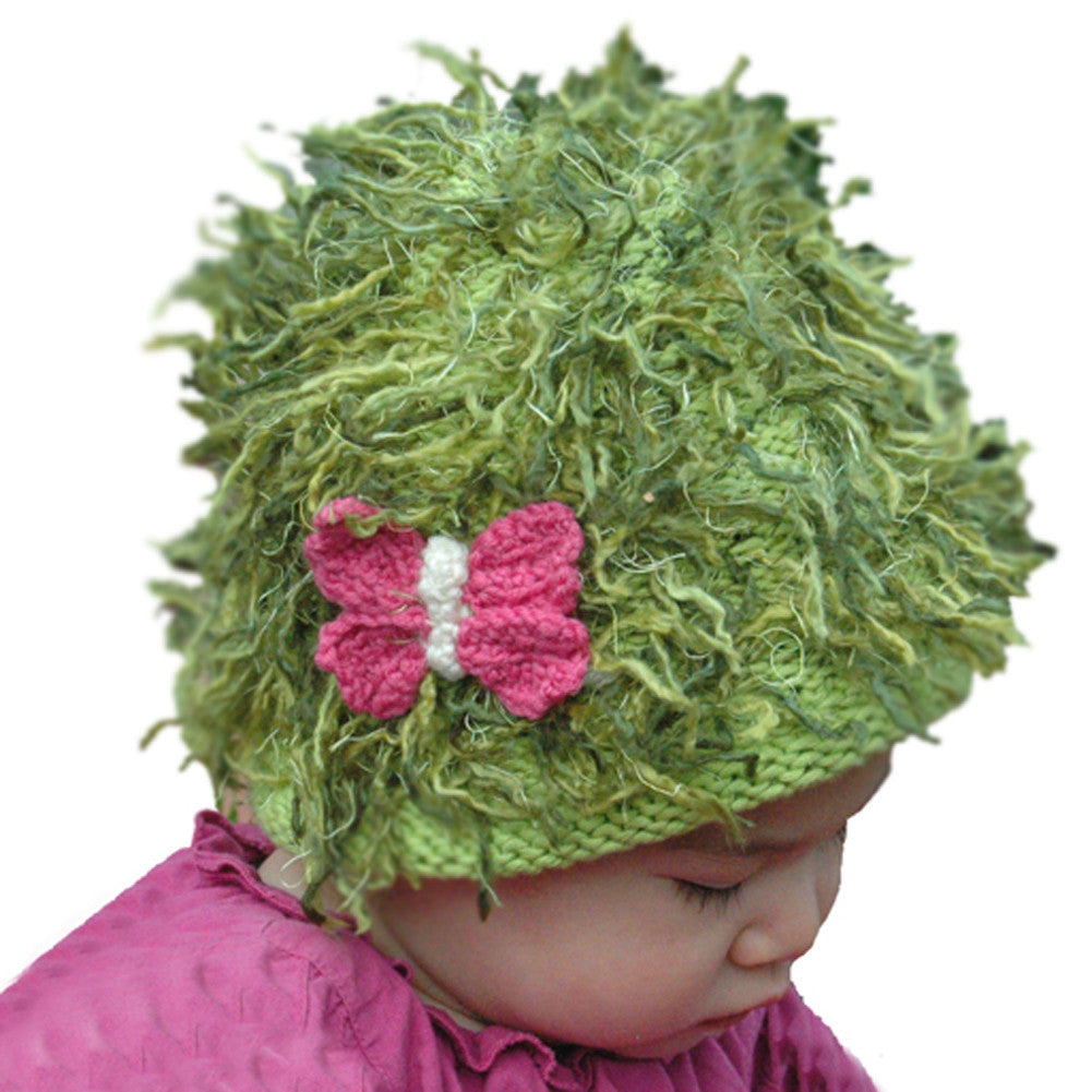 Zooni Fluttering Pink Butterfly Baby, Toddler and Kids Mop Top Hat - FULLY LINED IN FLEECE