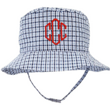 Blue & White CHECK Monogrammed (or First Name)Sun Hat for Baby and Toddler Boys