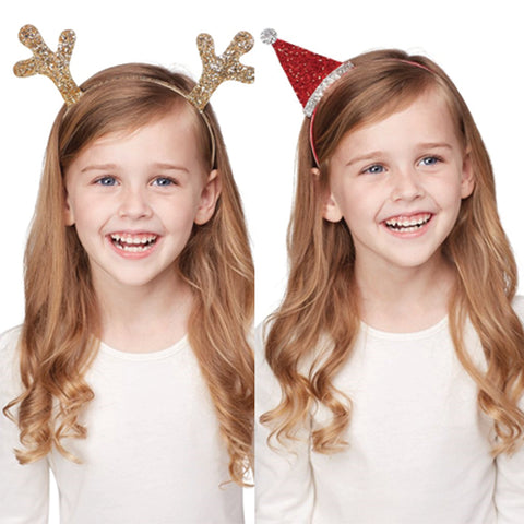 Glitzy Reindeer and Santa Headband Set of TWO for Girls