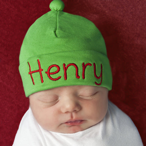 Solid GREEN GENDER NEUTRAL Infant and Newborn Beanie - Many Thread Colors Available