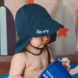 Navy Blue Flap Sun Protection Baby and Toddler Sun Hat with Sun Protection - Personalization Option