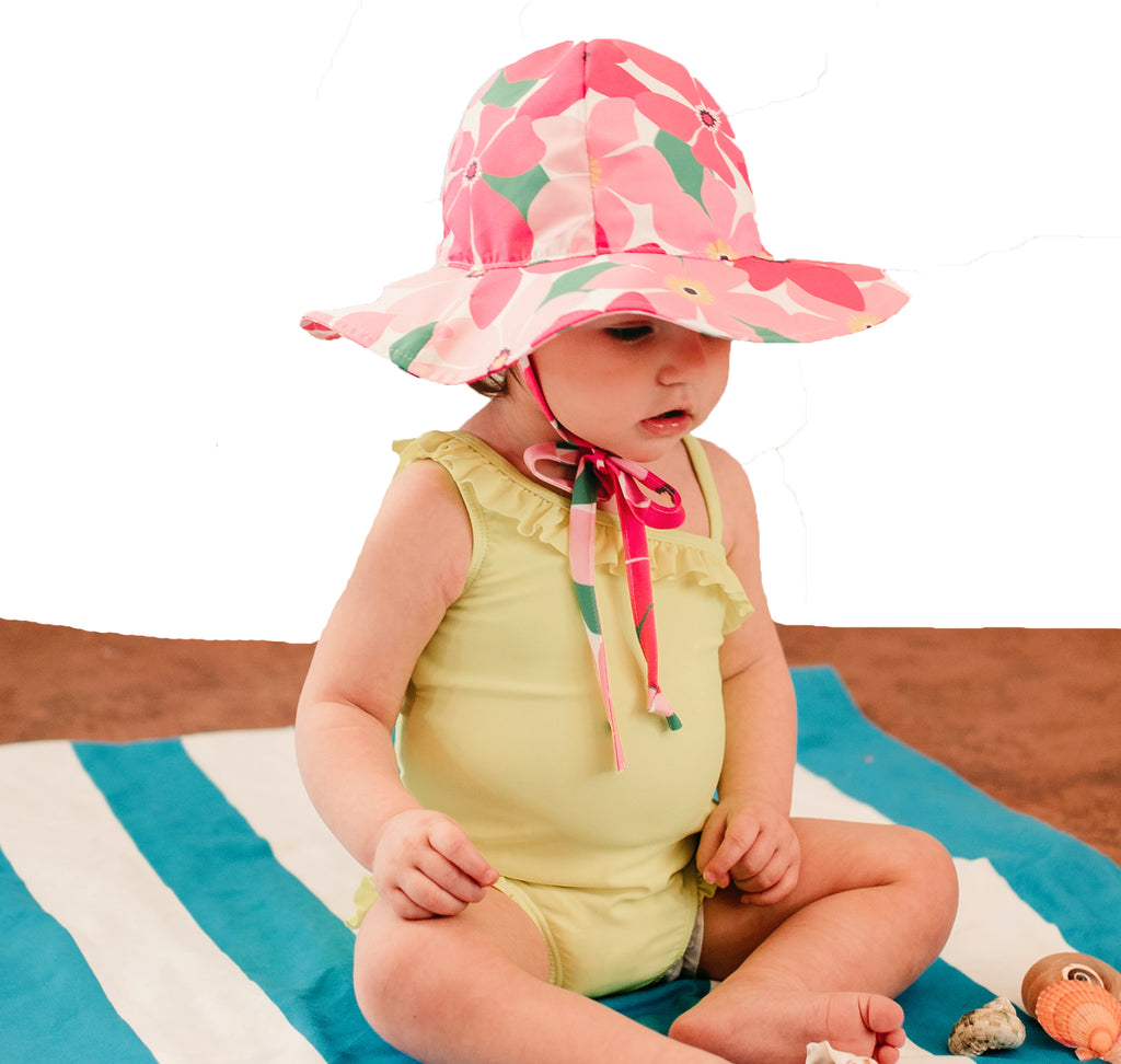 Hannah Hibiscus Pink Floral Baby and Toddler Sun Hat -PERSONALIZED Option