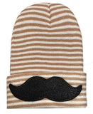 Hipster Baby Mustache Newborn Boy Hospital Hat - Tan and White Stripe