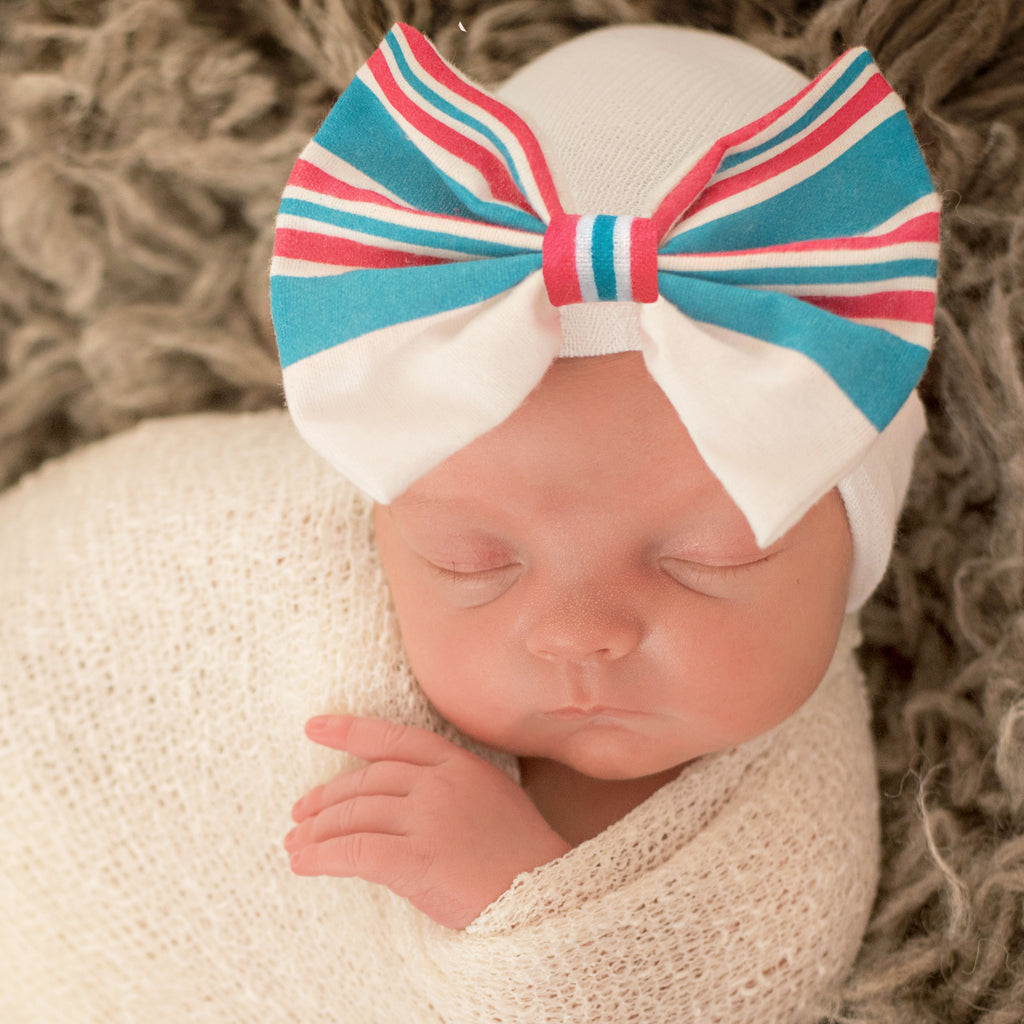 Striped Hospital Hat Blanket BOW - Newborn Girl Hospital Hat - Take Me Home Hat