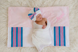 Hospital Blanket Monogrammed Bow Newborn Girl Hospital Hat and Embroider Blanket SET