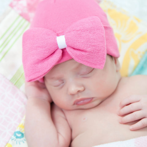Hot Pink Big Bow Hospital Hat for Newborn Girls
