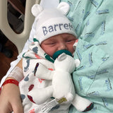 Tan Personalized Baby Bear Newborn Boy Hospital Hat - Hospital Hat
