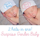 It's a Boy/It's a Girl Surprise Gender Baby Hospital Hat - White Hat with 2 patches