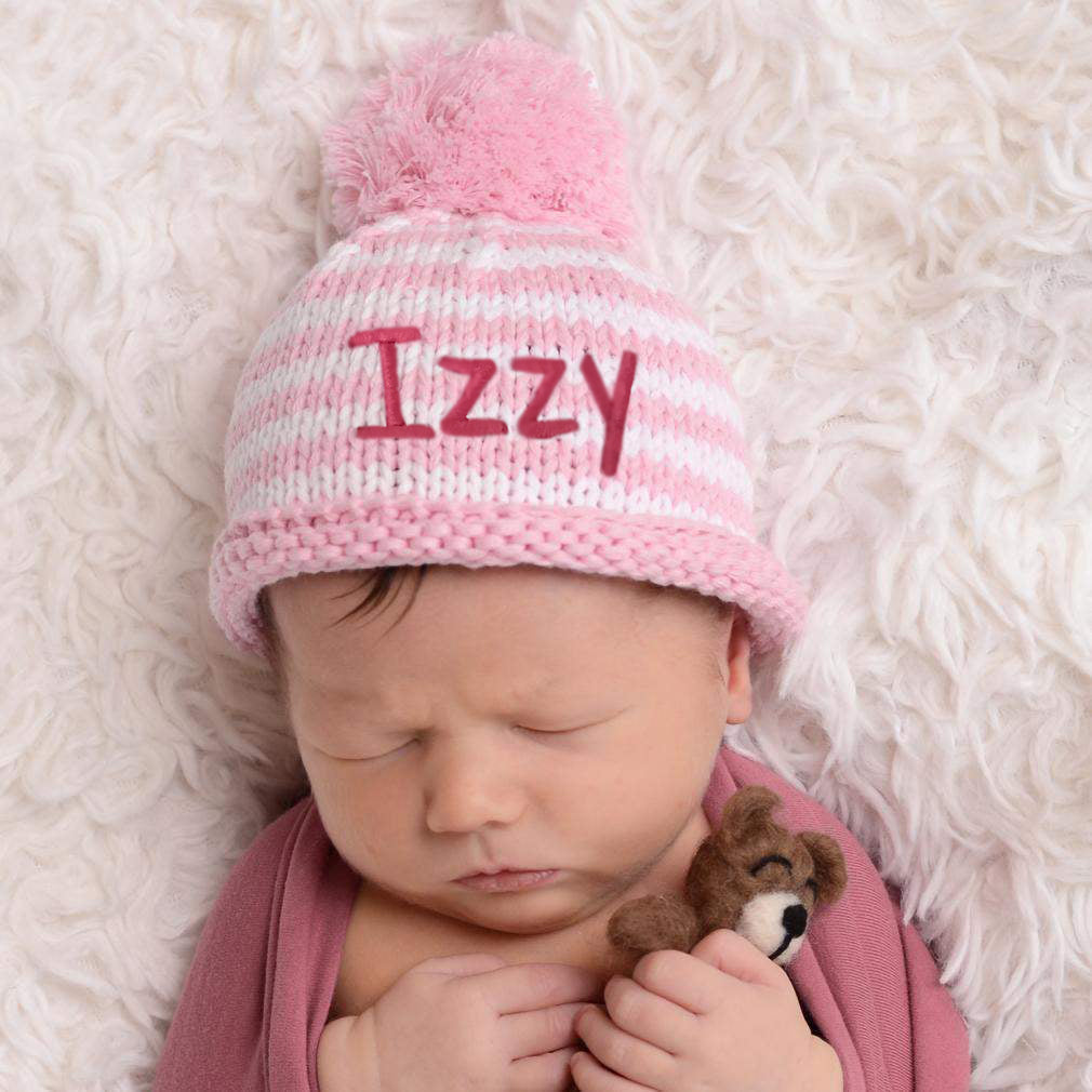 Personalized Pink and White Stripes with Pom Pom Newborn GIRL Beanie