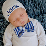 He is a ROYAL! Royal Blue and White Hat and Bow Tie Bodysuit SET and Personalized White Hospital Hat Take Home Outfit
