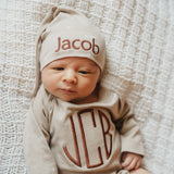 100% Organic Cotton Tan Monogrammed Onesie with Personalized Knot White Star Newborn Hat
