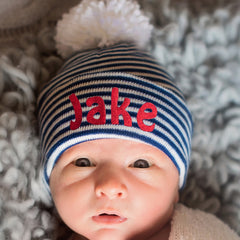 7645aad632cb0 Personalized Navy and White Striped Pom Pom Newborn BOY Hospital Hat icon