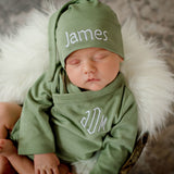 100% Organic Cotton Sage Green Monogrammed Kimono Bodysuit with Personalized Knot Newborn Hat