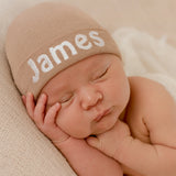 Tan Personalized Newborn Boy Hat