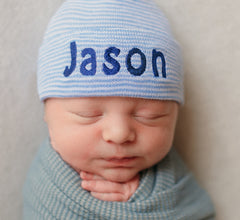 Baby Blue and White Striped Personalized Newborn BOY hospital baby hat icon