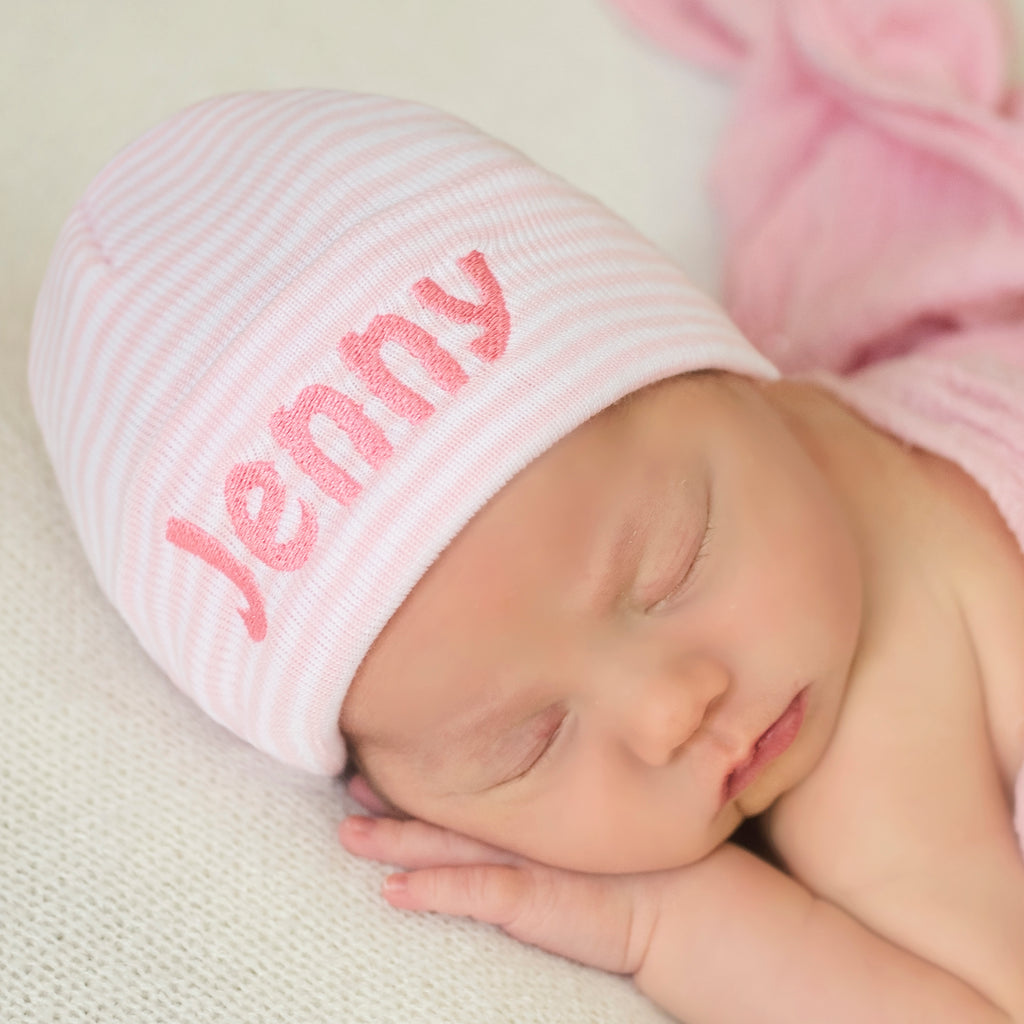 Personalzied A Melondipitys Pink and White Striped Initial Hospital Hat