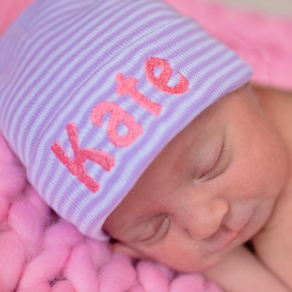 Purple and White Striped Personalized Newborn Girl Hospital Hat for Newborn Girls