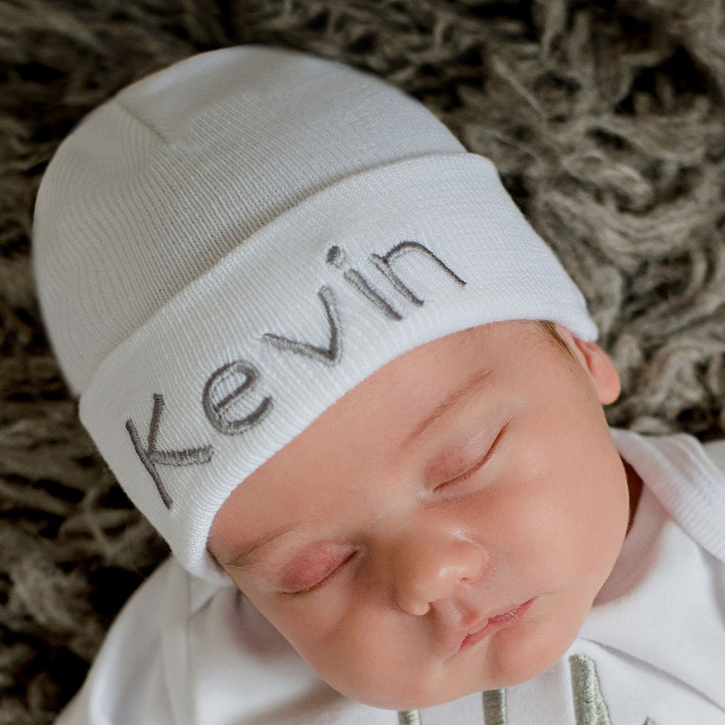 White Personalized Newborn BOY hospital baby hat