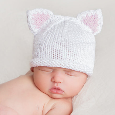 White Kitty Ears Newborn Girl Knit Hat
