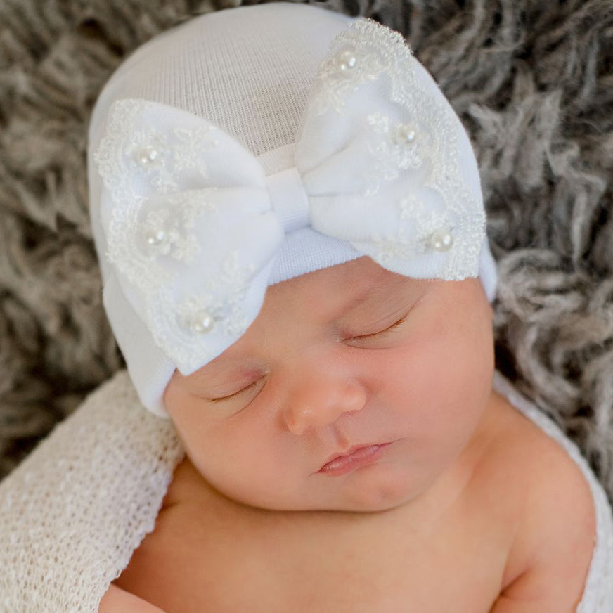Lace and Pearl Bow White Hospital Hat- Nursery Beanie for Girls