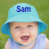 Lagoon Blue Blue Personalized Sun Hat for Baby and Toddler Boys