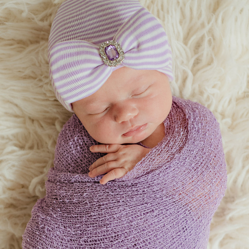 Lucy Lavender Purple and White Striped Newborn Girl Hospital Hat with Purple Rhinestone Jewel for Newborn Girls