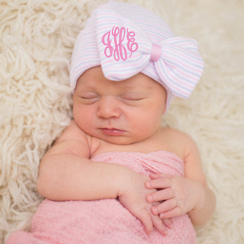 Lavender and Pink Striped Hospital Hat with Pink Center and Monogrammed Initials Nursery Newborn GIRL hospital hat