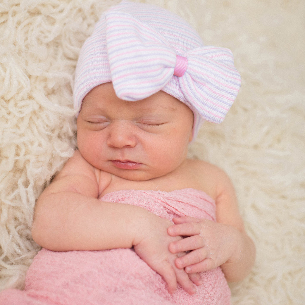 PINK RIBBON - Lavender Striped with Bow with PINK Ribbon Center Baby Girl Newborn Hospital Hat