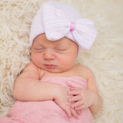 PINK RIBBON - Lavender Striped with Bow with PINK Ribbon Center Baby Girl Newborn Hospital Hat icon