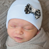 Mini Leopard Jeweled Bow Newborn Girl Hospital Hat - White Hospital Hat